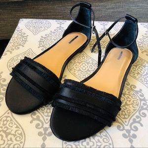 Express   Black Satin Fringe Ankle Strap Sandals